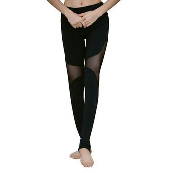 ESBON New Fashion Lady Quick-drying Women's Trample Feet Leggings Mesh Yogaing Fitness Hollow Stretch Workout Leggings CN58