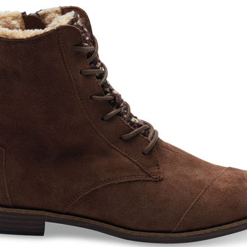 TOMS Alpa Boots Women Chocolate Brown Water Resistant Suede Textile