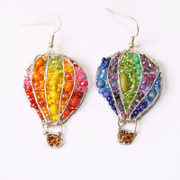 Little Hot Air Balloon Beaded Earrings by LucyJewellery on Etsy