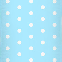 Retro style beach, bath towel, light blue and white polka dot pattern, vintage style