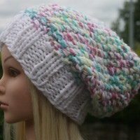 Hand Knit Hat- Women's hat- Teen- slouchy- beanie- winter hat- chunky- women accessories