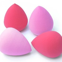 Makeup Blender Sponges 4 Pc Set - Blend Your Flawless Foundation with Pink Egg Shaped Beauty Latex-Free Sponge Applicators for Foundations, Creams etc - With a Round & Pointed End They are Designed for an Airbrush Professional Finish Everytime.