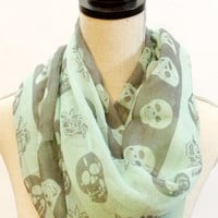 Soft Lightweight Delicate Mint Skull Rose Scarf - Traditional Scarf