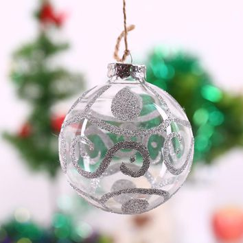 Christmas Tree Pendant Ornament Ball/ Silver S string/ Hanging party decoration Glass Ball wedding centerpieces freeshipping 8cm