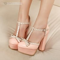 Lovely Pink Platform Closed-toe Chunky Heels Women's Shoes