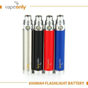 100% Original VapeOnly EGo Battery USB Flashlight 650mAh Battery with USB Cable E-Cigarette Vape E-cig Short Circuit Protection