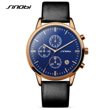 SINOBI Fashion Multifunction Mens Wrist Watches Leather Strap Top Luxury Brand Males Business Quartz-watch Montres Hommes 2016