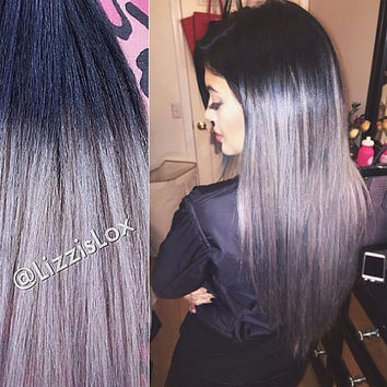 "Gorgeous Clip In REMY Human Hair Extensions 20"" Black to Gray Grey Ombre Dip Dye Balayage 100-180g Satisfaction Guarantee!"