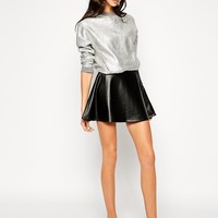 Dr Denim Faux Leather Flippy Skirt at asos.com