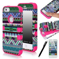 iPhone 5S Case, E LV iPhone 5S Case Hybrid Dual Layer Armor Case Cover for iPhone 5S with 1 Screen Protector, 1 Stylus and 1 Microfiber Digital Cleaner for Apple iPhone 5S (AT&T, Sprint, Verizon, T-Mobile) (Tribal Hot Pink)