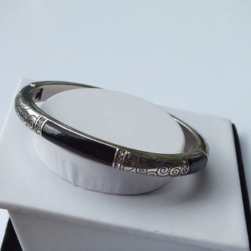 Brighton 2 Tone Silver and Black Etched Cuff Bracelets / Bangles, Nice Estate Find