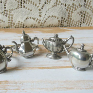 Pewter Teapot Napkin Rings Set of 4 Tea Lover Gift Tea Party Accessory Little Teapots