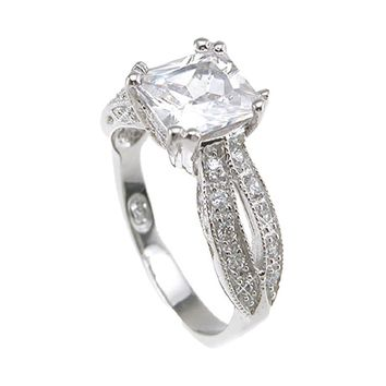 Plutus Brands 925 Sterling Silver Rhodium Finish CZ Princess Antique Style Wedding Ring- Size 8