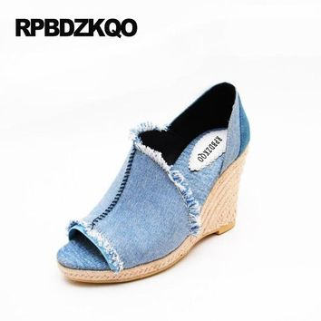 Denim Abnormal Women Open Toe High Heels Wedge Pumps 9cm 4 Inch 2017 34 Small Size Blue Vintage Shoes Summer Jean Trendy Slip On