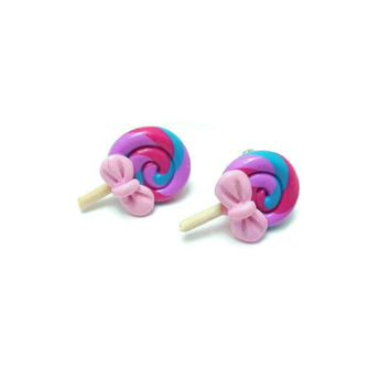 Lollipop Earrings, Polymer Clay Jewelry, Candy Jewelry, Stud Earrings, Clip On Earrings, Raibow Candy Earrings