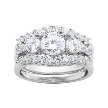 DiamonArt® Sterling Silver Bridal Ring Set - JCPenney