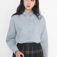 Light Blue Lapel Collar Long Sleeve Shirt with Buttons