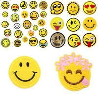 24 Pcs Emoji Patches Embroidered Iron on Badge Applique for Clothes Mixed Colors