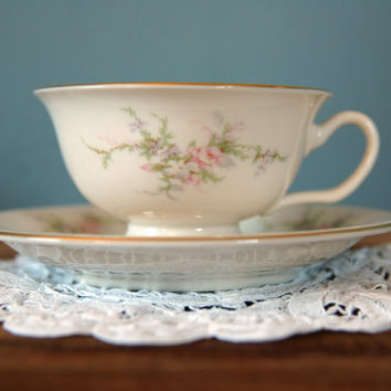 "Vintage Arcadian ""Petite Rose"" Cup and Saucer Set"