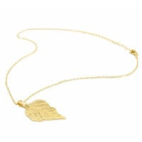 Golden Textured Leaf Drop Curb Chain Necklace