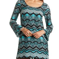 Print Long Sleeve Shift Dress by Charlotte Russe - Turquoise Combo