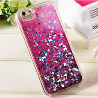 Transparent Fashion Dynamic Liquid Glitter Colorful Paillette Sand Quicksand phone Case Cover For iPhone 6 5S 6S 6 plus 6S plus