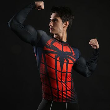 Long Sleeve Compression T Shirt Men 3D Print T-shirt Spiderman Cosplay Costume Fitness Tops For Male Tees Plus Size