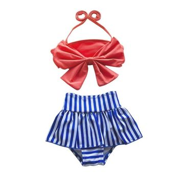 Retro Style Little Girls Red Swimsuit