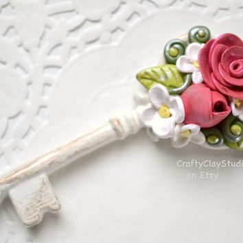 Wedding Gift - Spring Decor - Polymer Clay Flowers - Clay Flowers - Key Decor - Bridesmaid Gift - Mothers Day Gift - Gift for Her - Key