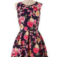Fabulous in Floral Dress - Navy