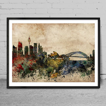 Sydney skyline, Sydney print, Sydney abstract, Sydney Art Poster, Wall Art, Sydney Decor, Cityspace Poster Print -x70