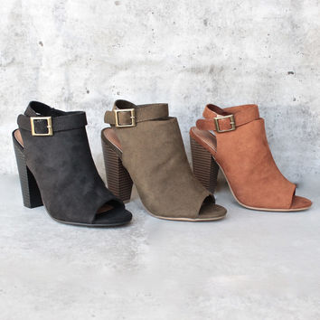 vegan suede wrap around ankle peep toe booties - more colors