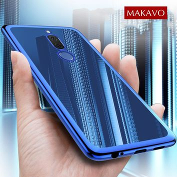 MAKAVO Case for Huawei Nova 2i Honor 9i Cover 3D Laser Plating Soft Transparent Slim Luxury TPU Phone Cases For Mate 10 Lite