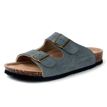 Summer Men's Cow Suede Leather Mule Clogs Slippers High Quality Soft Cork Two Buckle Slides Footwear For Men Women Unisex 35-46