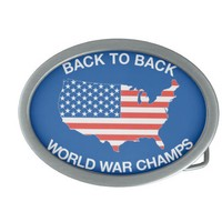 Back to Back World War Champs Oval Belt Buckle from Zazzle.com