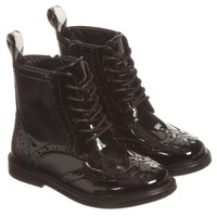 Girls Black Patent Leather Brogue Ankle Boots