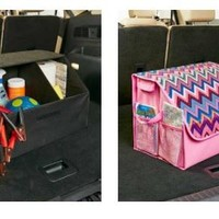 Trunk Organizer with Cover Divided Compartments Outside Pockets