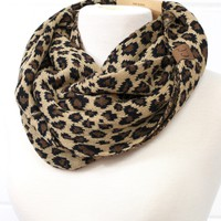C.C. Knit w/ Leopard Infinity Scarf (MORE COLORS)