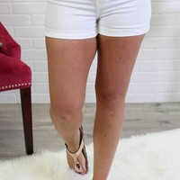 High Rise White Denim Shorts