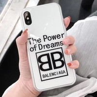 BALENCIAGA Fashionable Creative Couple Glass Mobile Phone Cover Case For iphone 6 6s 6plus 6s-plus 7 7plus 8 8plus X White