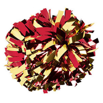Metallic Gold & Red Baton Handle Pom