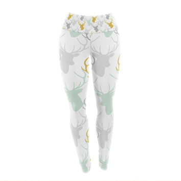 "Pellerina Design ""Scattered Deer White"" Gold Green Yoga Leggings"