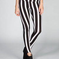 Twisted Angel Bold Stripe Womens Leggings Black/White  In Sizes