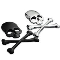 Silver 3D Skull Metal Skeleton Crossbones Car Sticker Label Skull Emblem Badge free shipping