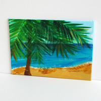 "Under the Palm Tree At the Beach - Cubicle Art - 5""x7"" Acrylic Painting (Left Side Palm Tree)"