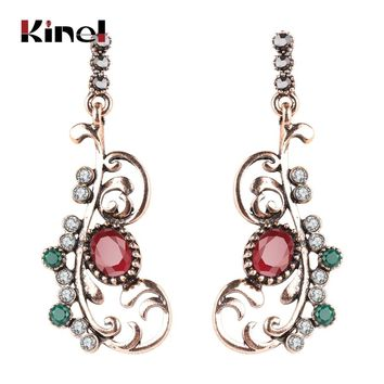 Kinel Turkish Jewelry Crystal Flower Earrings For Women Antique Gold Color Vintage Wedding Jewelry Party Gifts Drop Shipping