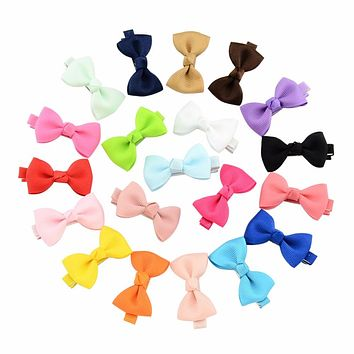 20Pcs/lot 1.77 Inch Colorful Toddler Baby Girls Boutique Hair Clip Bows Ribbon Hairpins Hairgrip headwear For Children 659