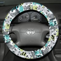 Racoon Steering Wheel Cover, Cute Girly Cotton Car Wheel Cover, Custom Cover,Handmade in USA,  Micheal Miller Fabric, Cute Card Accessory