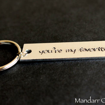 You're My Favorite, Hand Stamped Keychain with Heart Stamp, Aluminum Bar Key Chain, Couples Accessory, His Hers, Anniversary Gift
