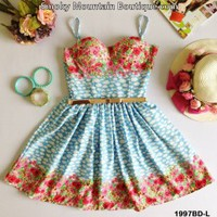 Ash Floral Retro Bustier Dress with Adjustable Straps - Size S/M - Smoky Mountain Boutique